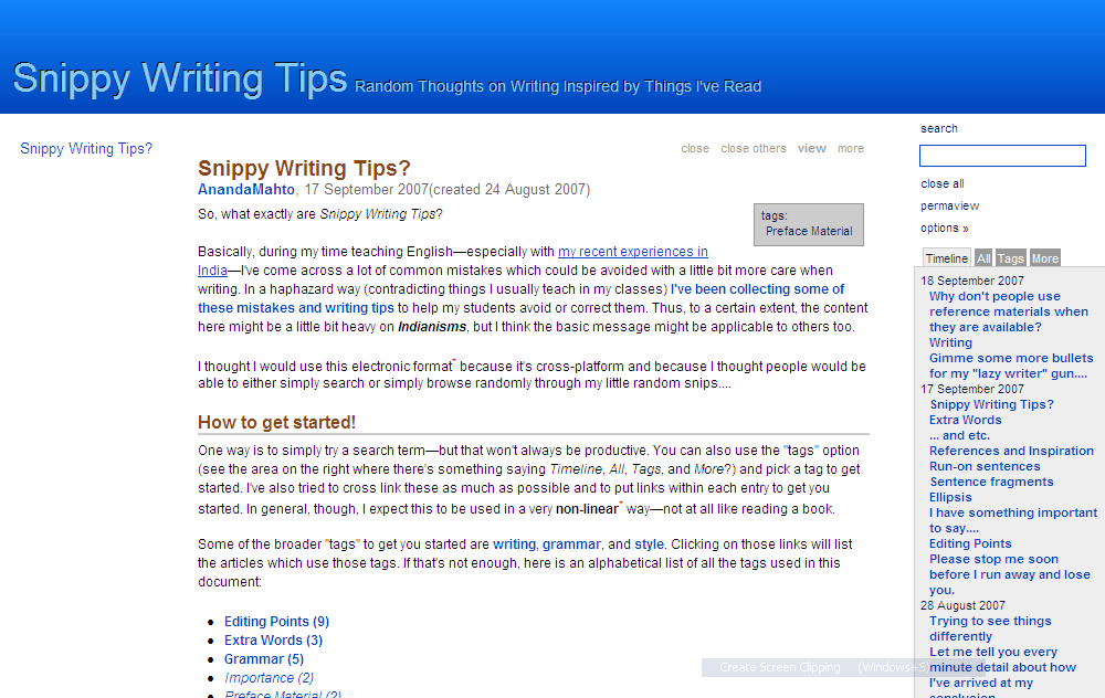 Snippy Writing Tips